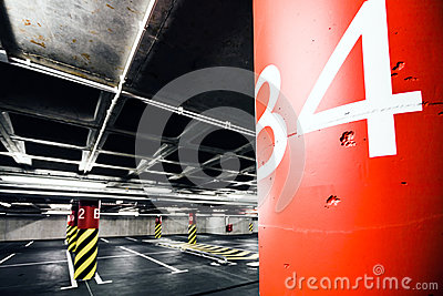 Parking garage underground interior