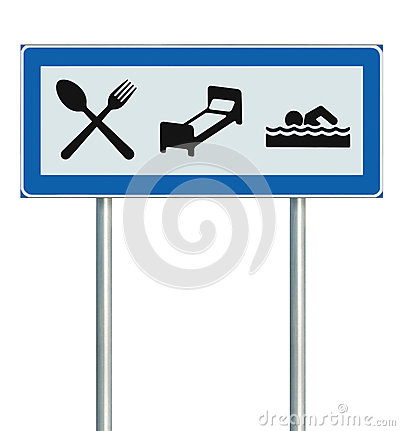Parking Lot Road Sign Isolated Restaurant Hotel