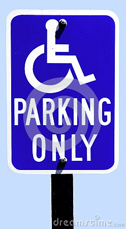 Parking sign for disabled drivers