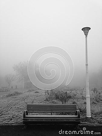 Parkowa ławka i słup w marznięcie mgle