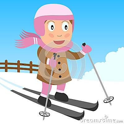 Parkowy dziewczyny narciarstwo