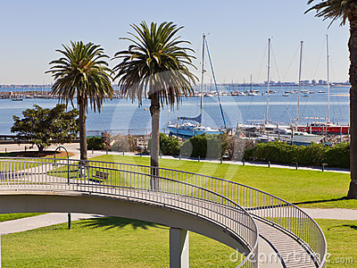 Parks and gardens leading to Marina. Editorial Stock Photo