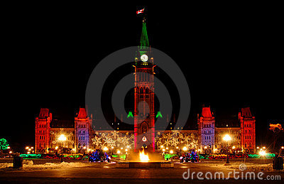 Parliament Building and Eternal Flame at Christmas