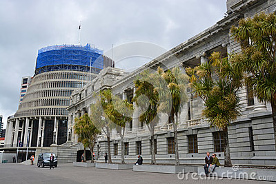 Parliament Buildings & Beehive, Wellington New Zealand. Editorial Photography