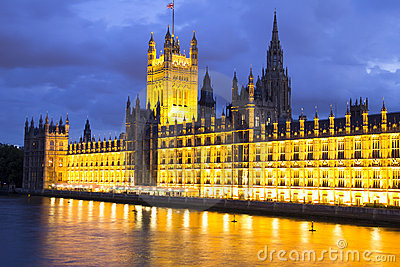 Parliament at night, London, England