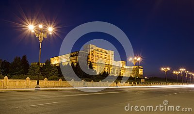 Parliament at night, Romania