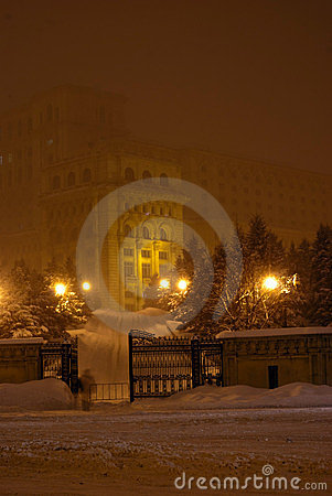 Parliament palace in fog