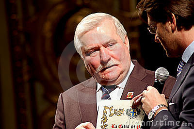 Parma Major and Lech Walesa Editorial Stock Photo