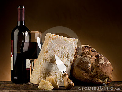 Parmesan cheese bread and wine