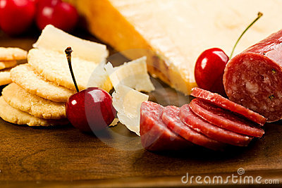 Parmesan shortbread biscuits and salami