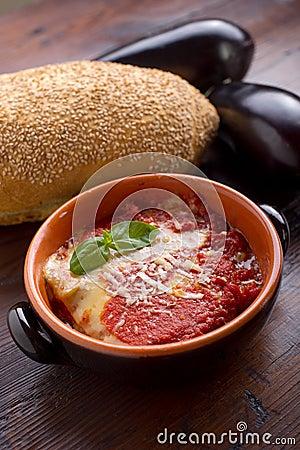 parmigiana eggplant on bowl