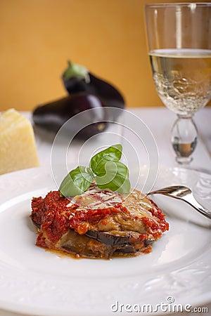 Parmigiana eggplant on dish
