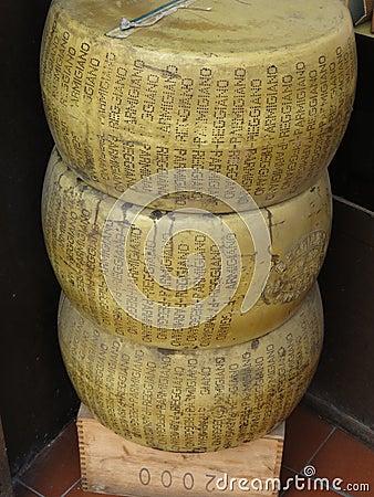 Parmigiano Reggiano wheels Editorial Photo