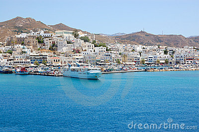 Paros island harbour view