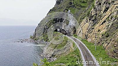 Parowy pociąg iść od tunelu zbiory wideo