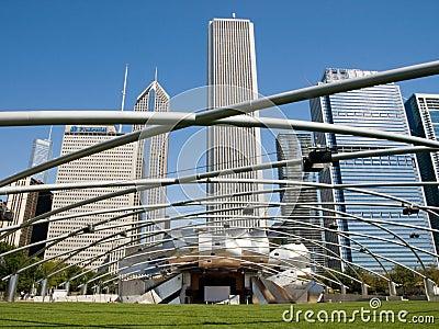 Parque del milenio de Chicago, pabellón de Jay Pritzker Imagen de archivo editorial
