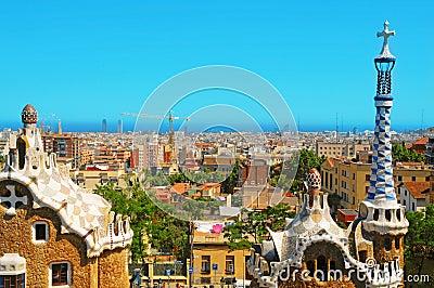 Parque Guell, Barcelona, España Foto editorial