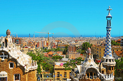 Parque Guell, Barcelona, Spain Foto Editorial
