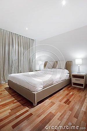 Parquet floor in bedroom
