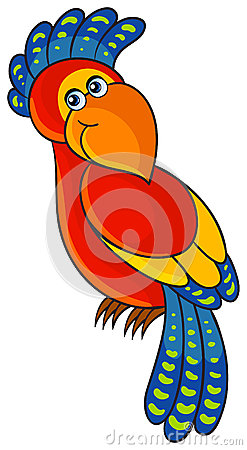 Parrot. Cartoon african wild animal character