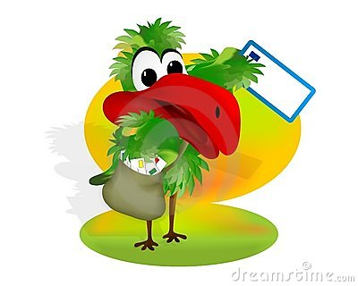 Parrot with mail bag, cdr vector