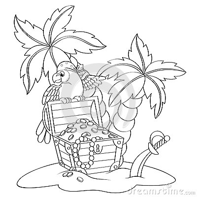 Free Parrot On Pirate`s Treasure Chest. Deserted Beach With Palm Trees Royalty Free Stock Images - 85505719