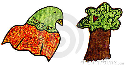 Parrot and Tree Clip art