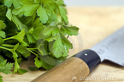 Parsley and knife