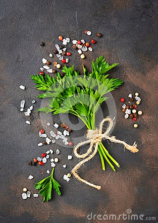 Free Parsley, Salt And Pepper. Culinary Background Stock Images - 104501174