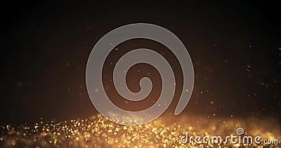 Partículas do ouro que movem o fundo Partícula de baixo de Poeira de ouro da partícula que cintila no fundo preto ilustração do vetor