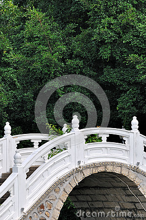 Part of arch bridge with plant background