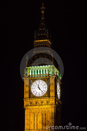 Part of Big Ben at night