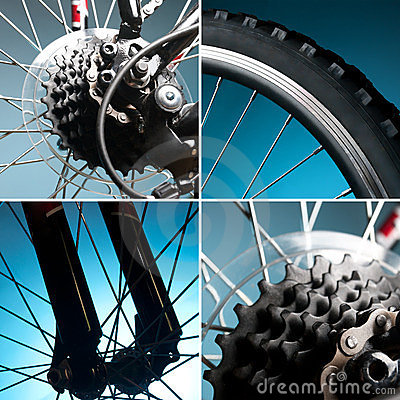 Part of the bike. wheel, tire, chain, sprocket