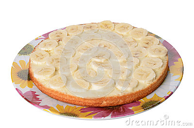 Part of cake with banana