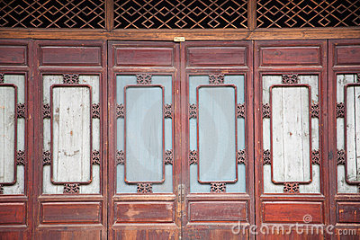 Part of Chinese closed wooden door
