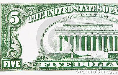 Part of a five dollar bill