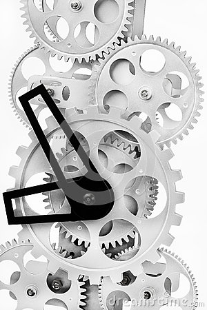 Part of gears in a mechanical clock