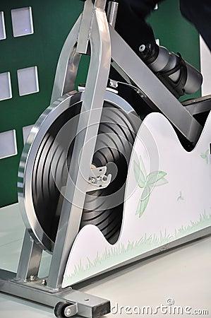 Part of generator bicycle as gymnastics apparatus