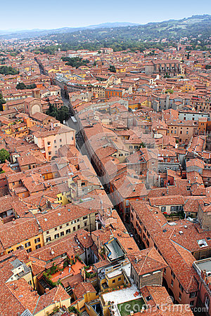 Part of historic center of Bologna, Italy