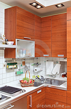 Part of Kitchen interior with wooden furniture