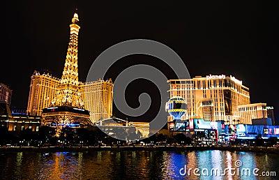 Part of Las Vegas Skyline at night Editorial Photo