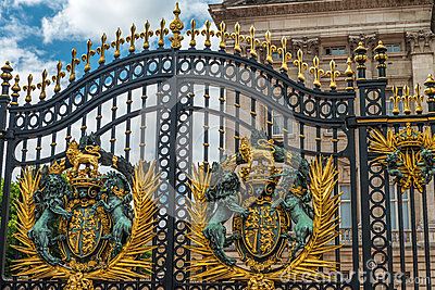 Part of main gates at Buckingham Palace in London Editorial Stock Image