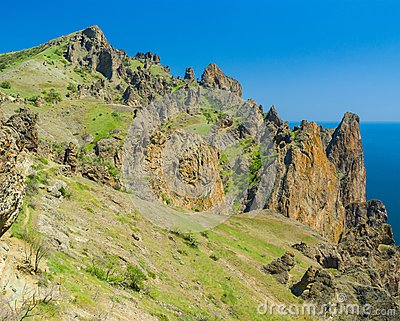 Part of majestic Karadag, volcanic mountain in Eastern Crimea