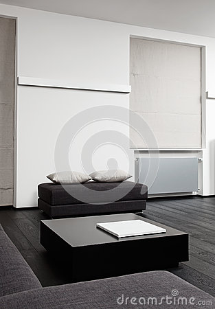 Part of modern sitting room interior in black