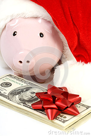 Free Part Of Piggy Bank With Santa Claus Hat And Stack Of Money American Hundred Dollar Bills With Red Bow Stock Photo - 41666480