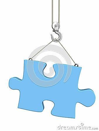 Part puzzle on hook elevating crane