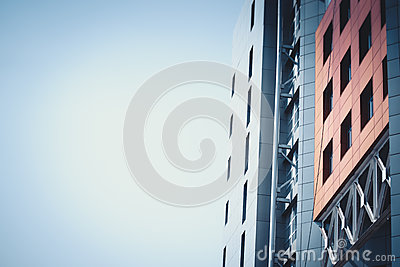 part of the red blue facade urban buildings and sky Stock Photo