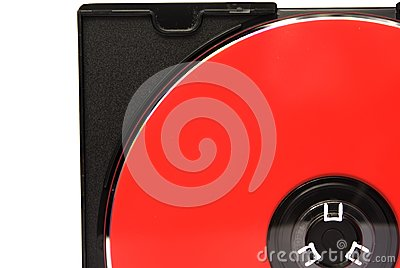 Part of red CD in box