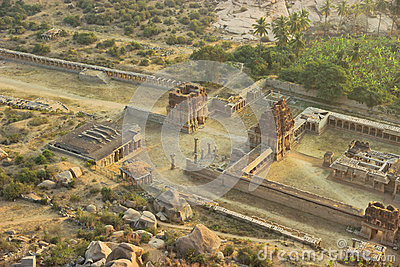 Top view of ruins from mountain Matangi on sunrise, Hampi, India