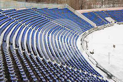 Part of a snow-covered stadium